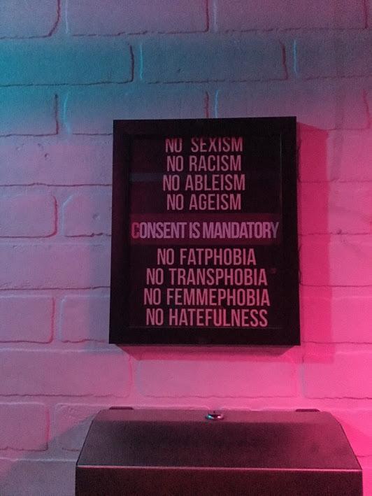 Sign in Jolene's bathroom