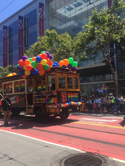 A cable car decked out for SF Pride