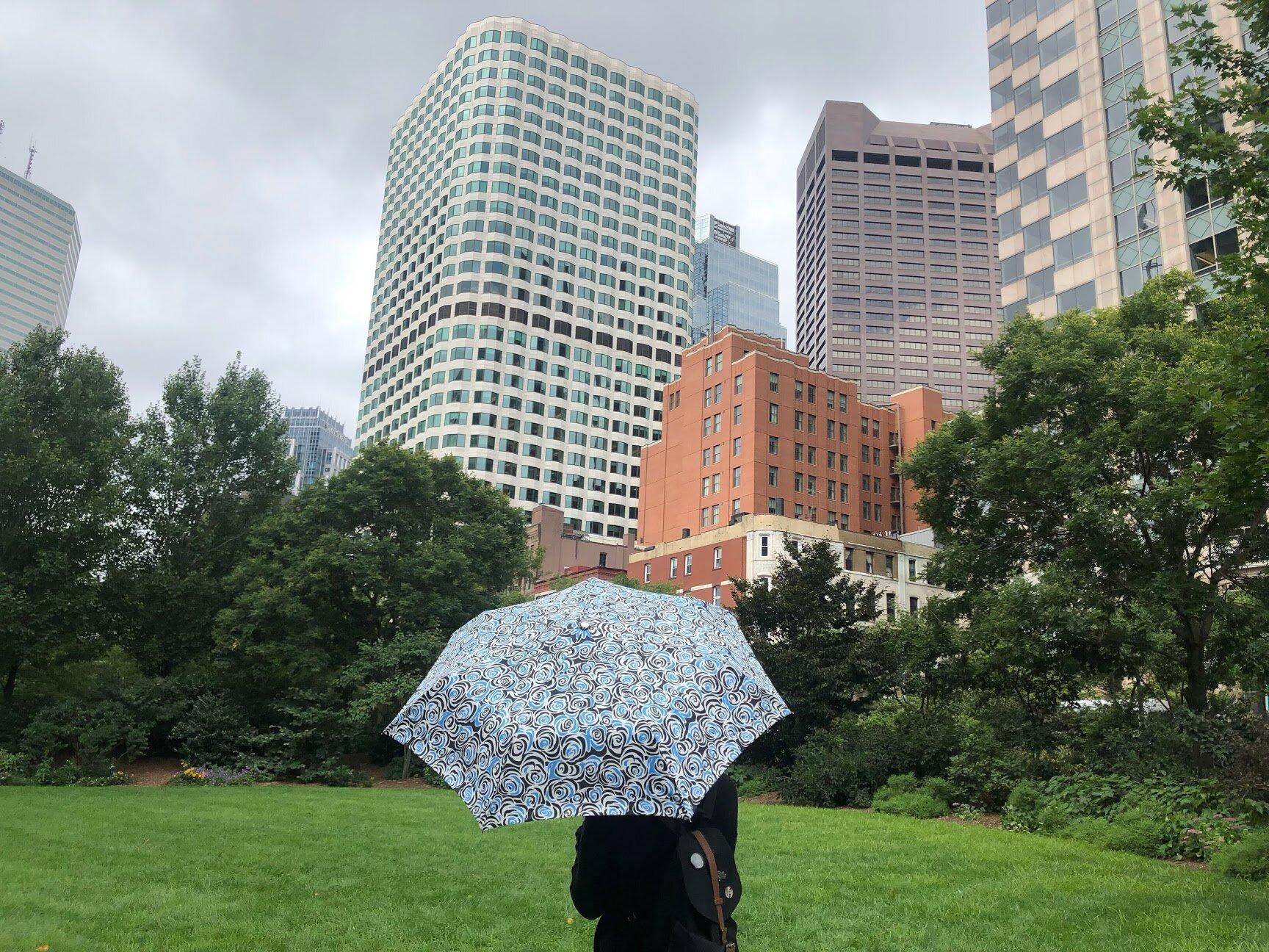 Needing an umbrella at the Rose Kennedy Greenway