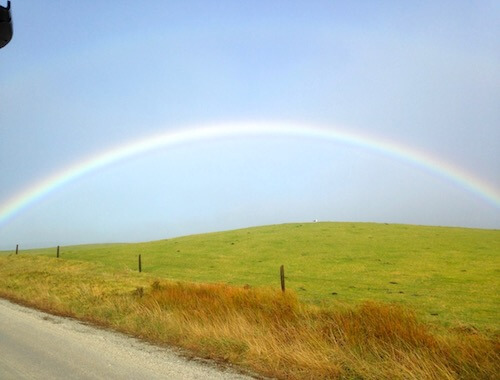 In the rainbow season, the land is wrapped in smiles on the road to Flinders Island Gourmet Retreat.