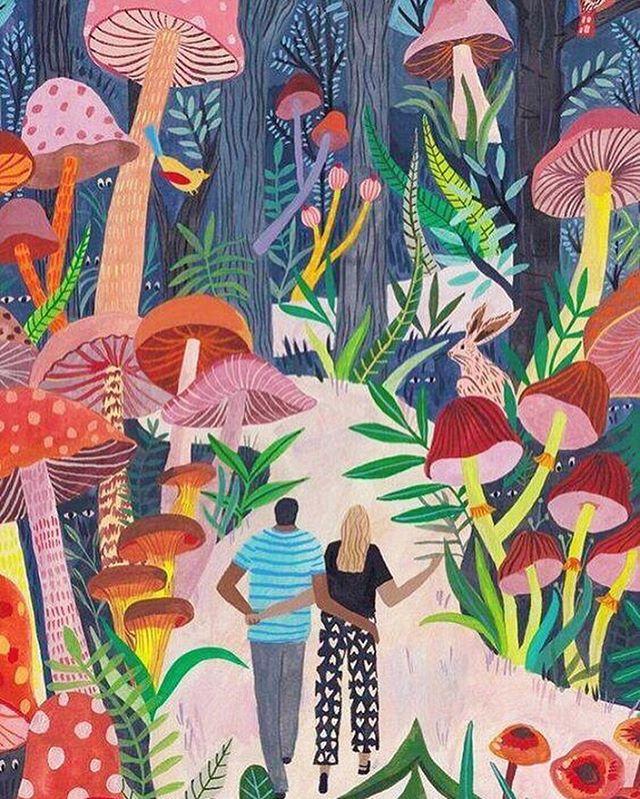 """In wisdom gathered over time I have found that every experience is a form of exploration."" -Ansel Adams ⠀ ⠀ Colorful #mushroomart by Miranda Sofroniou  #setavida #mushlove #mushroomhunting #exploration #naturewalk #botanicalart #colorstory #fungi #fungirls #lovebirds #mushroomforest"