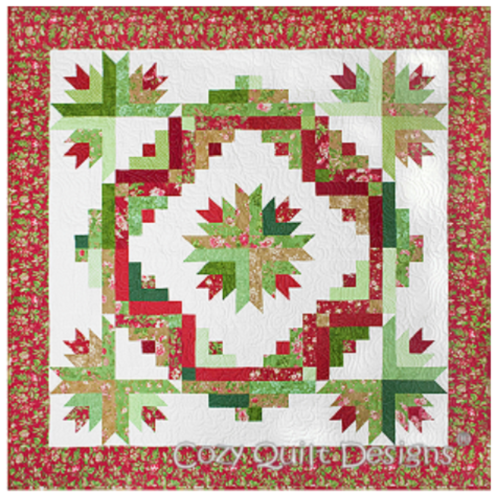 """Cactus Wreath - Looks great in Christmas colors or any other color combination.Made from 2 1/2"""" strips plus background fabric.Pattern includes instructions for: wall, throw, and queen size.Quilt pattern is available at cozyquilt.com.Quilting designs are available right here on this site (see below)."""