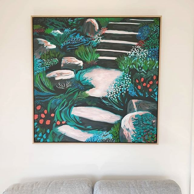 My painting 'Castle Steps' in its new home overseas in Taroona, Tasmania! 🤗 . . . . . #commissionedart #painting #australianartist #commissionsopen #tasmania