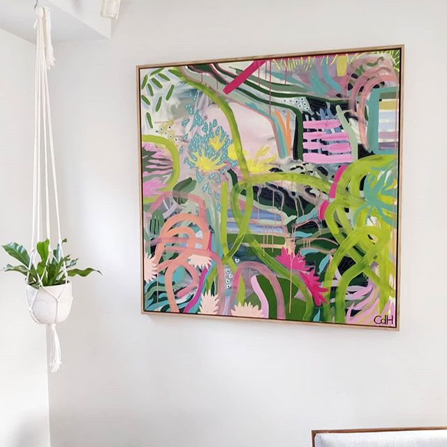 My painting 'Hudson's Jungle' was installed in its beautiful new home this week in West Hobart. Thanks so much @saskiavos! . . . . #colorlovedecor #colorfulinterior #colourpop #stopandstaredecor #sorealhomes #planteriordesign #eclecticallymade #hobart