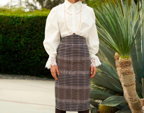 Pixie Market - Chain Halter Plaid Pencil Skirt