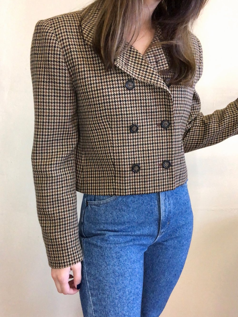 Vintage Earth-Toned Cropped Blazer -