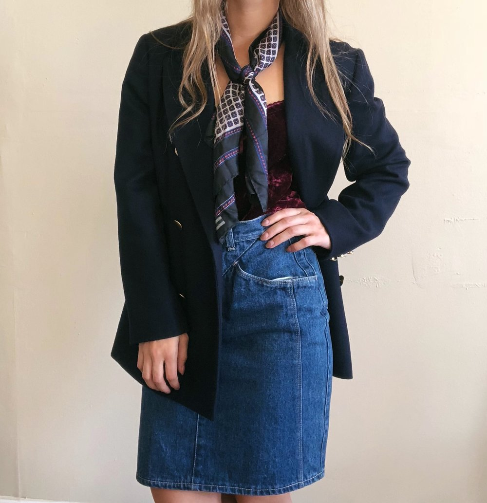 Vintage Navy Blazer with Gold Buttons -