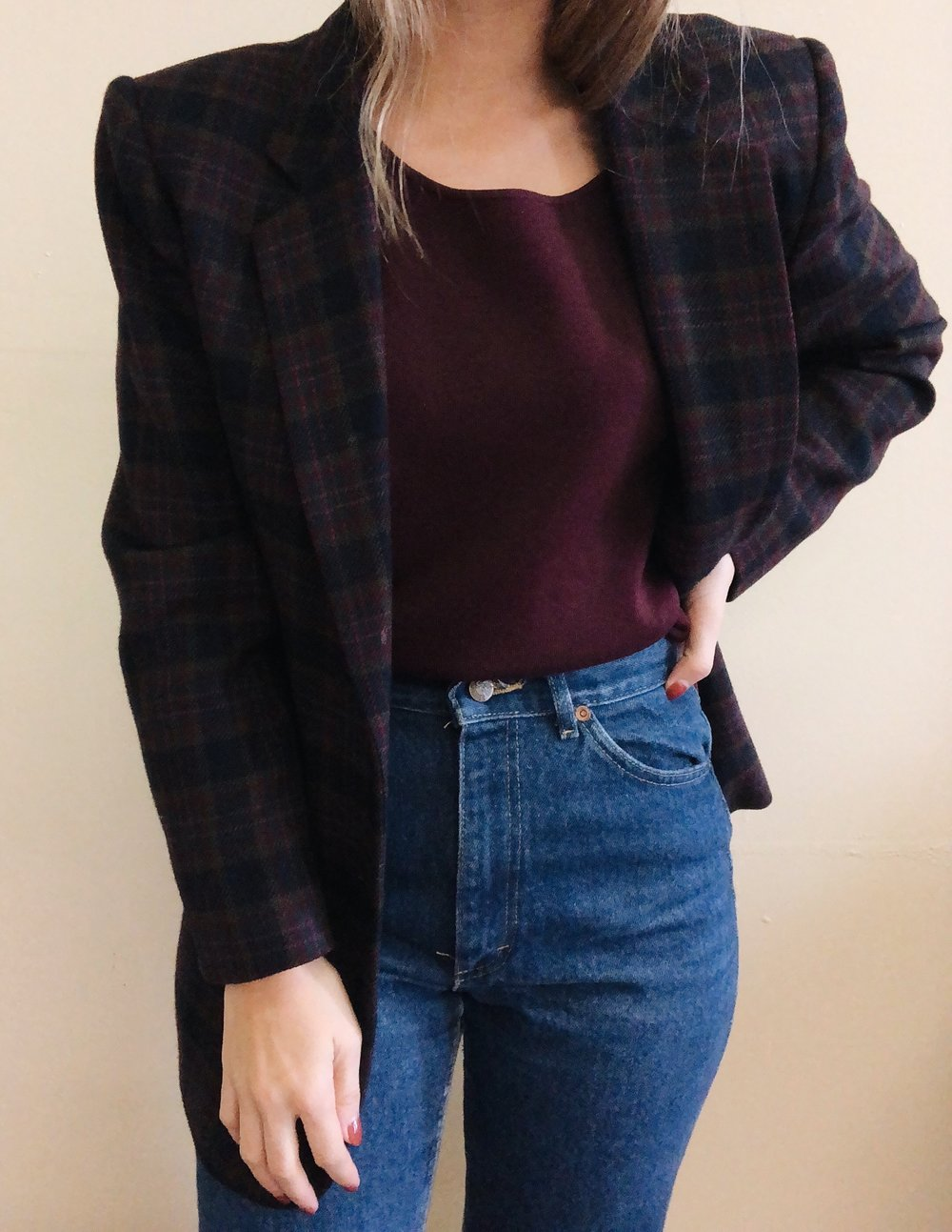 Vintage Jewel-Toned Plaid Blazer -