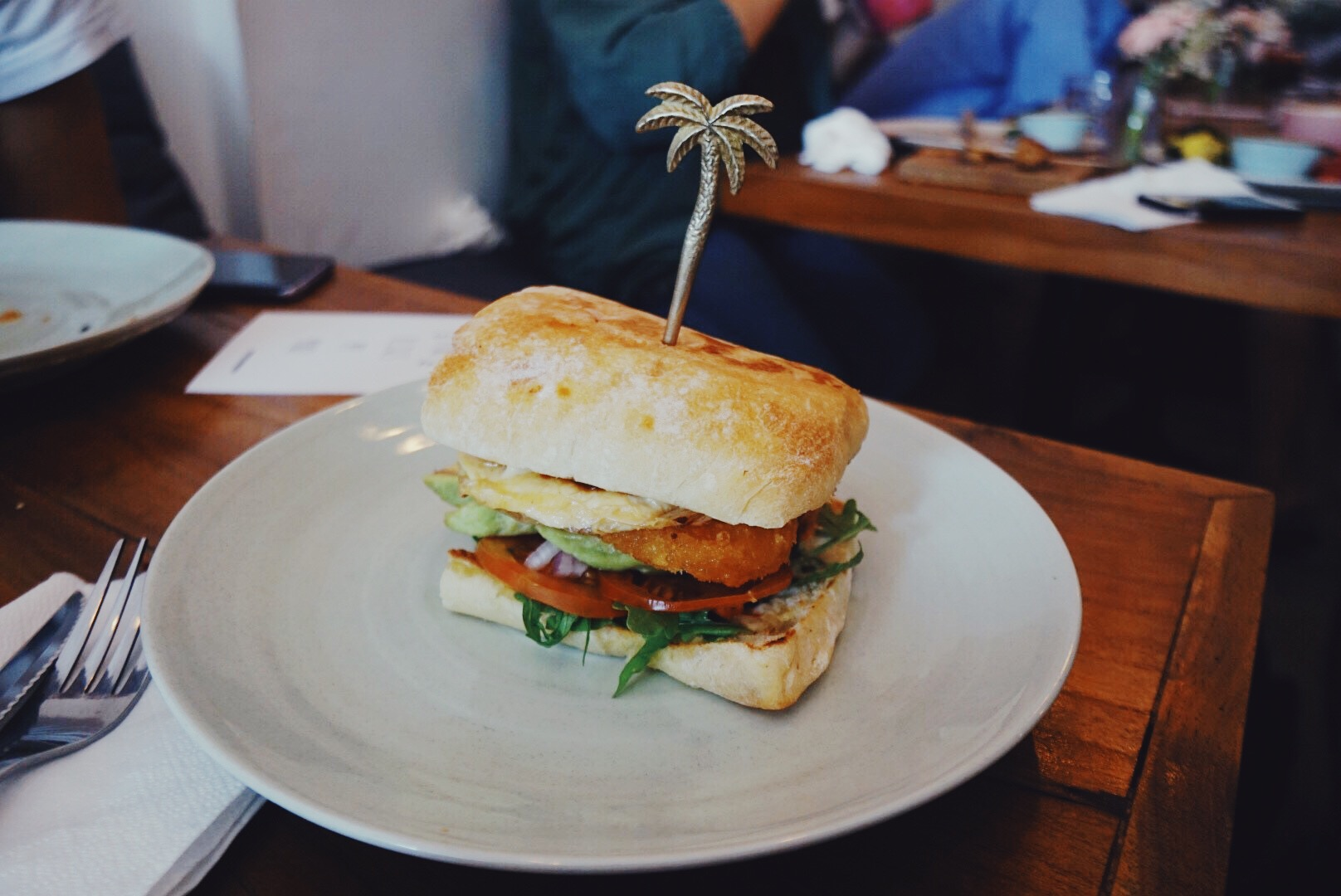 Sunny Side Up Burger - Ciabatta filled with vegan egg, hash brown, coconut 'bacon, avocado, etc