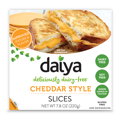 Daiya Deliciously Dairy-Free cheddar Style Slices (https://daiyafoods.com/our-foods/slices/cheddar/)