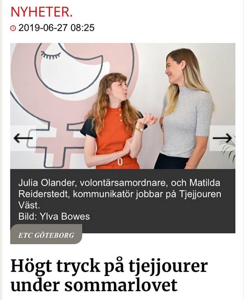 Högt tryck på tjejjourer under sommarlovet - ETC Göteborg 27 juni 2019