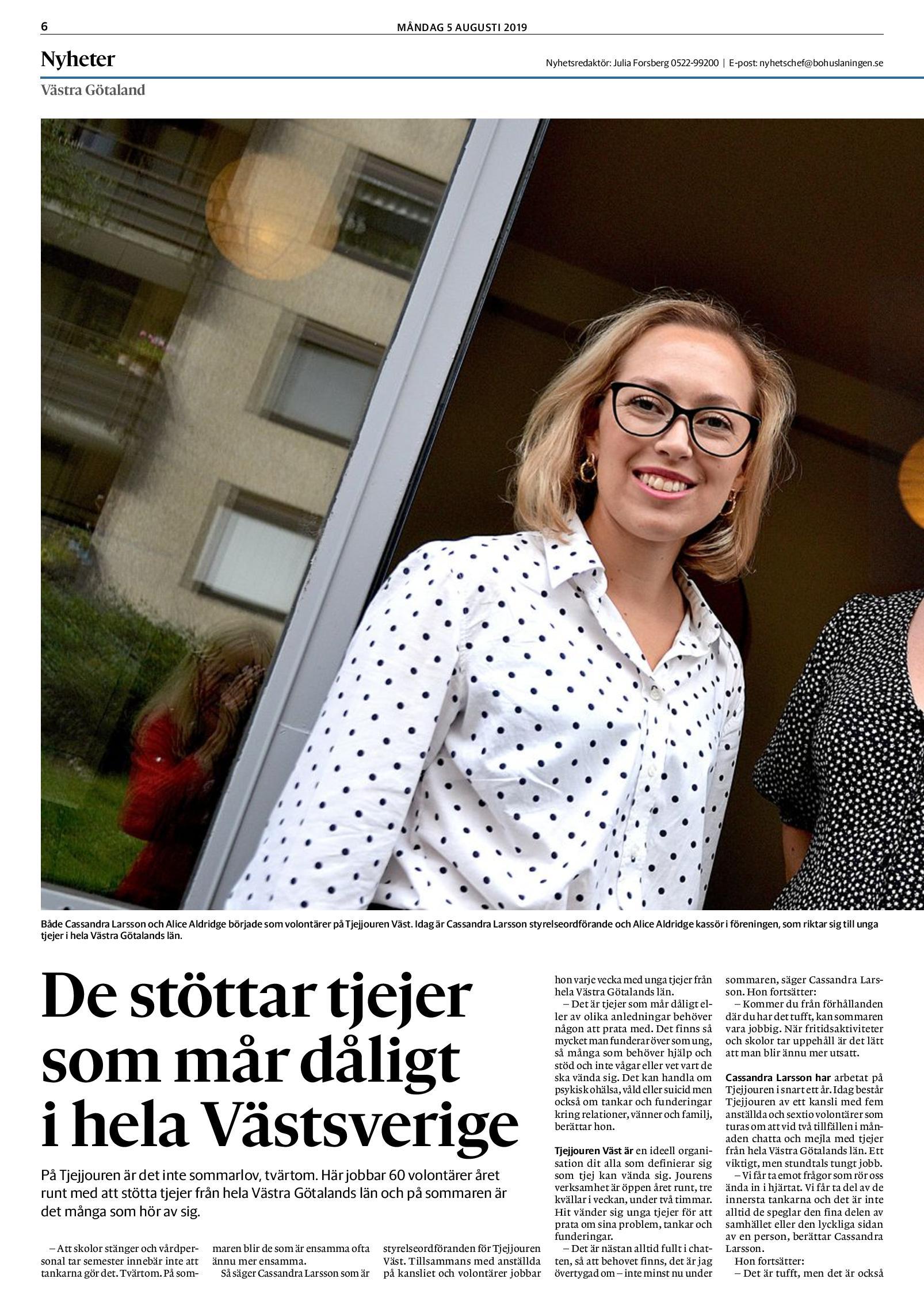 De stöttar tjejer som mår dåligt i hela Västsverige - Bohuslänningen 5 augusti 2019