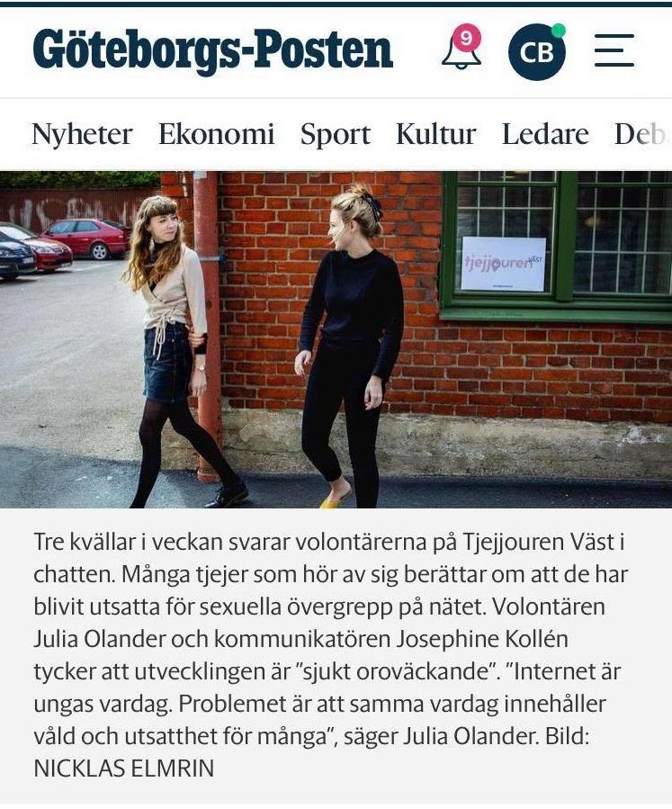 Övergrepp på nätet lika allvarligt som ett fysiskt för offret - Göteborgs-Posten 15 juli