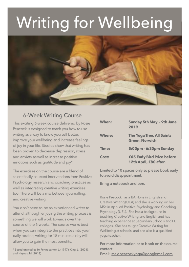 Writing for wellbeing norwich therapeutic writing the yoga tree
