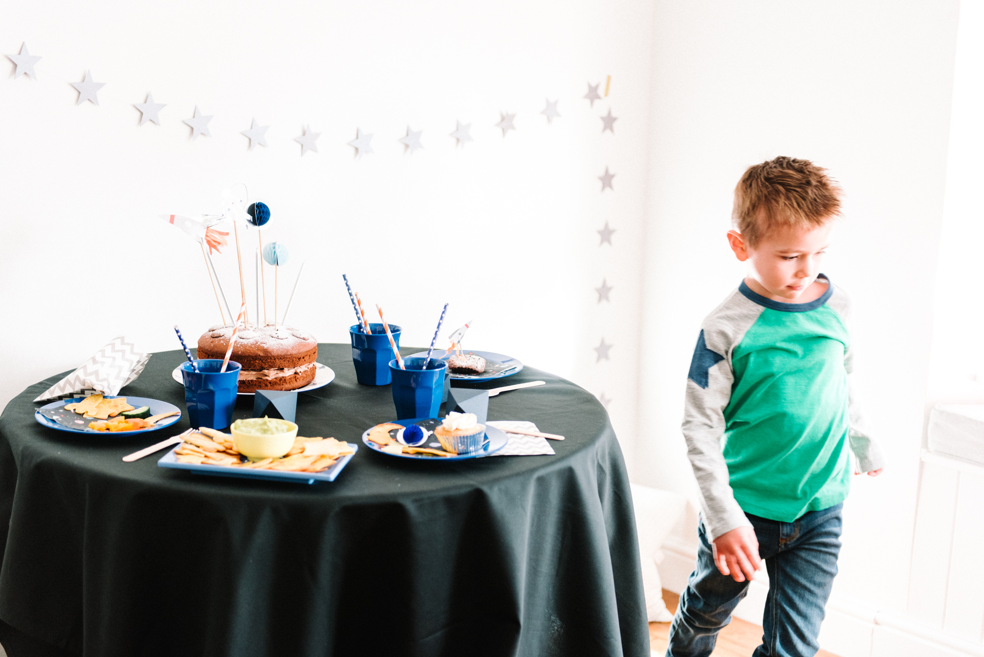 Space Party Table Styled WIth Reusable Hired Party Tableware From Make It Pop