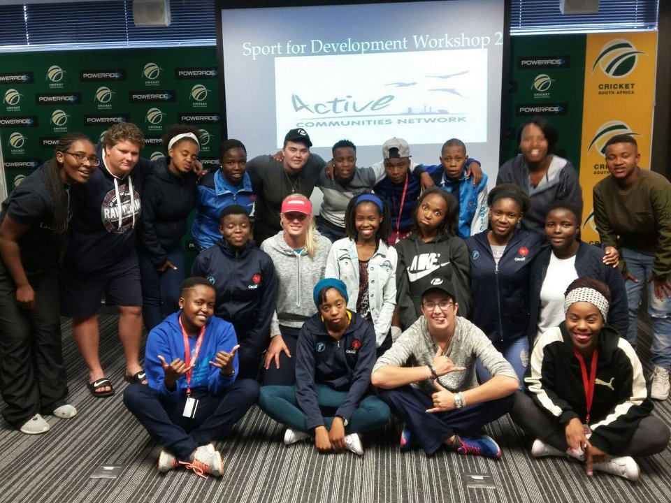 Bongi (Far left) after facilitating her first workshop with cricket coaches.