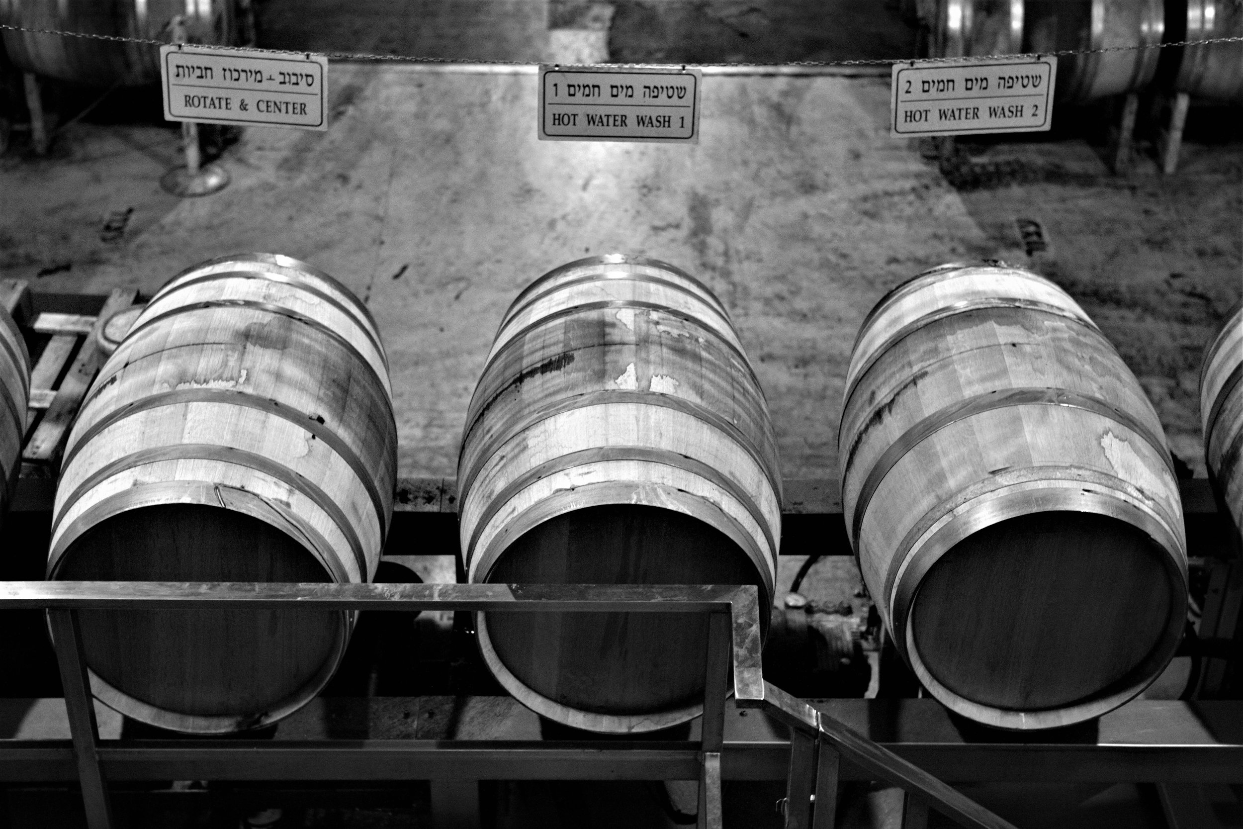 Die Besucher der Golan Heights Winery besichtigen den Keller mittels Aussichtsplattformen.