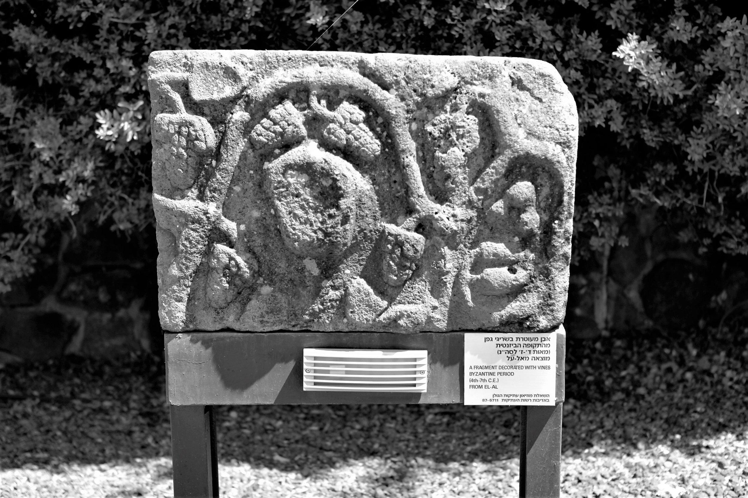 Ein archäologisches Artfakt im Besucherzentrum der Golan Heights Winery – schon die Byzantiner pflegten Reben auf den Golanhöhen.