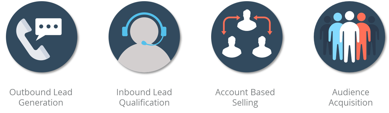 Our sales development services includes outbound lead generation, inbound lead qualification, live lead generation, account based selling,, and audience acquisition.