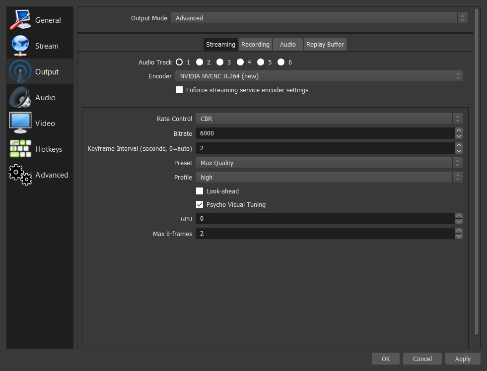 Advanced output settings