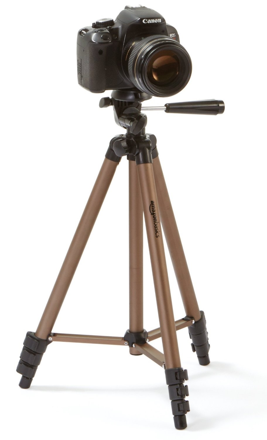 Amazon Basics tripod with DSLR camera mounted. What you would need to utilize in your setup.