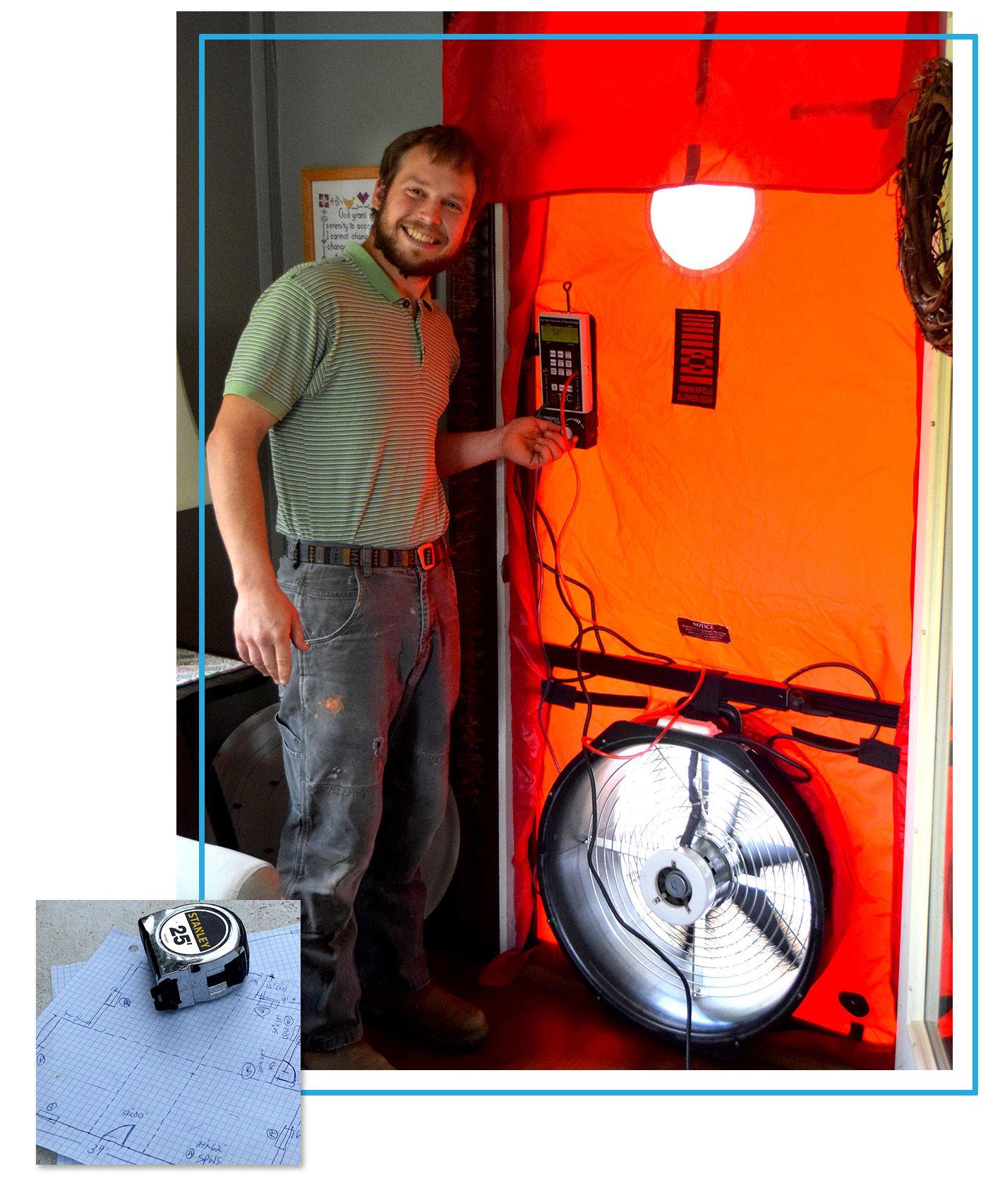 Setting up blower door test