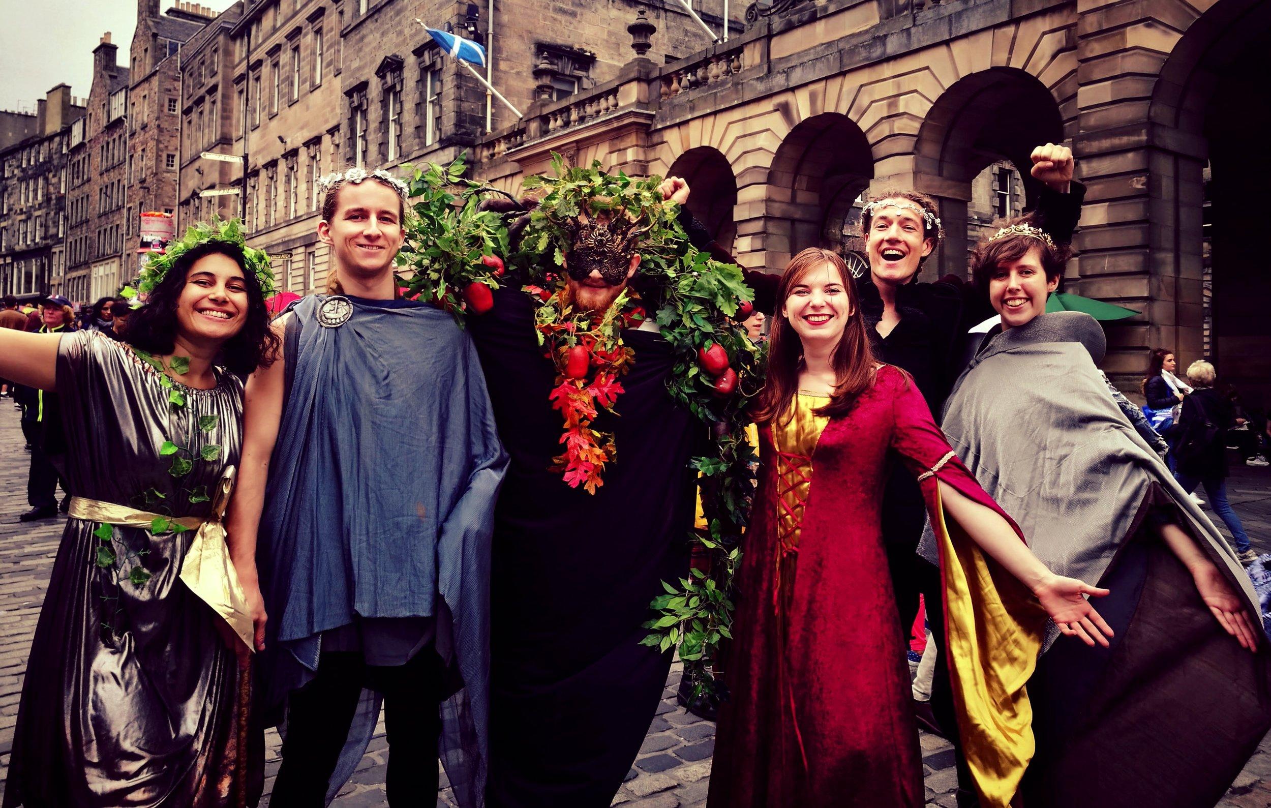 Hivemind in costume on Edinburgh's Royal Mile