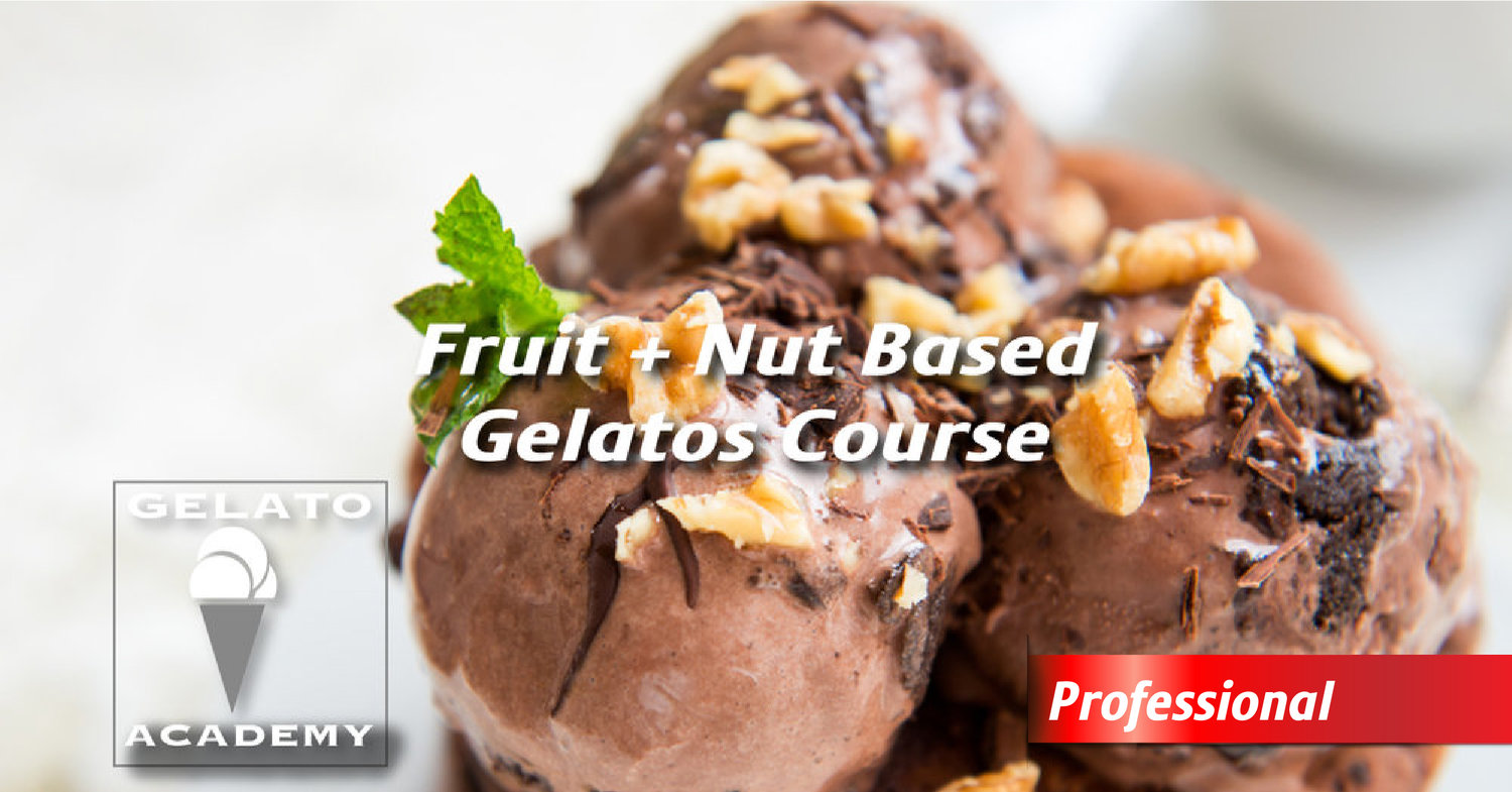 Professional - Fruit + Nut Based Gelato Course   Adapted with seasonal inspirations, students will learn the processes behind classic Italian desserts, such as sorbetti and granita. The course will also cover the cream based blends that highlight the complexity of a variety of fruit flavours: pistacchio, fragola, limone.  Course Length: 5 hours – CERTIFICATE PROGRAM