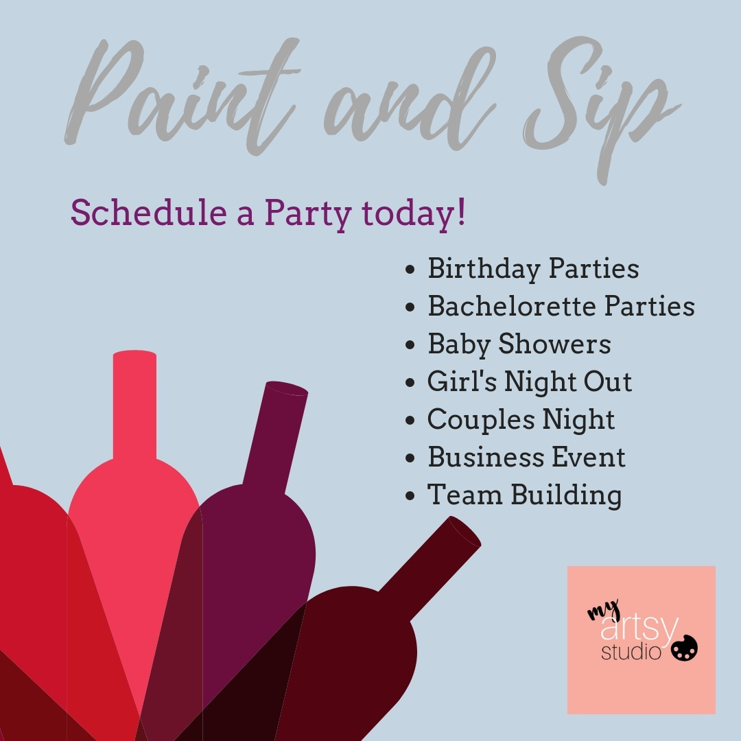 Have a party at your location! $200 minimum includes up to 8 people, each additional painter is $25. We provide all the supplies and 2 hours of art instruction!  Paint at Sip parties are optional, we also do any age parties- great for your employees, clients, Boy Scouts and Girl Scouts, church or other groups.