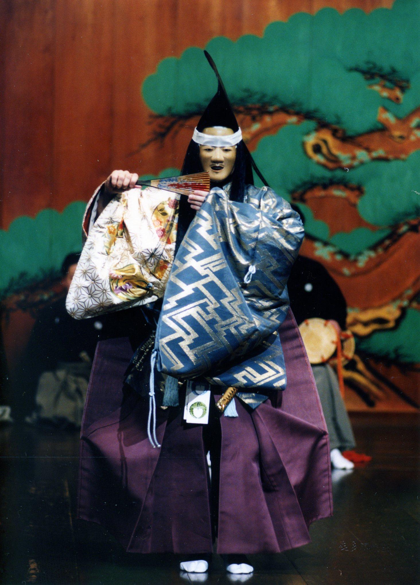 Richard Emmert - Performing Kiyotsune in 2002 on the Kita Noh Stage, Tokyo