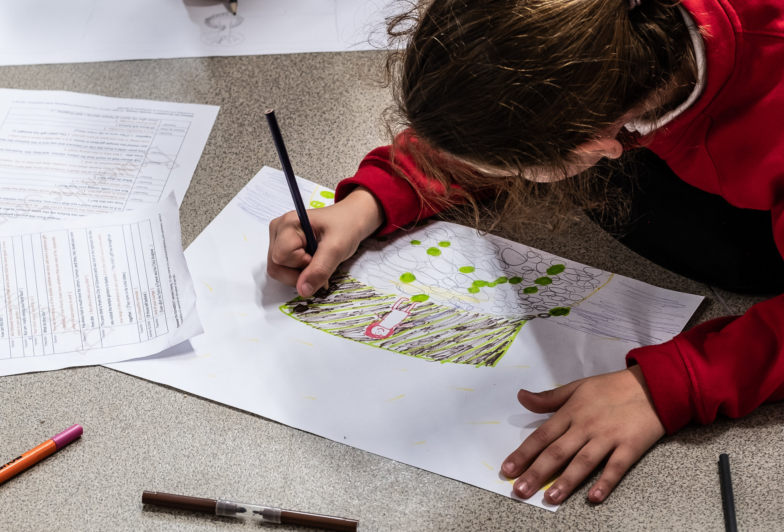 Then, spent time drawing the scene they had been studying...  Photography by Clive Barda