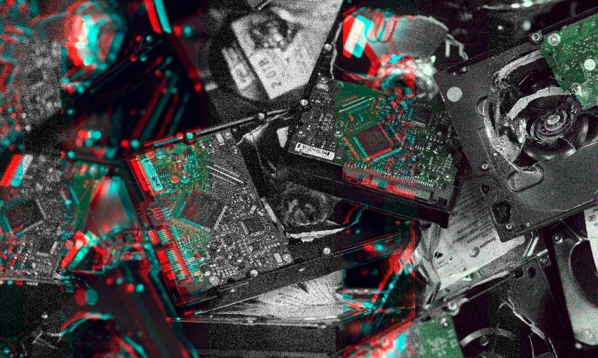 Glitched image of pile of circuit boards
