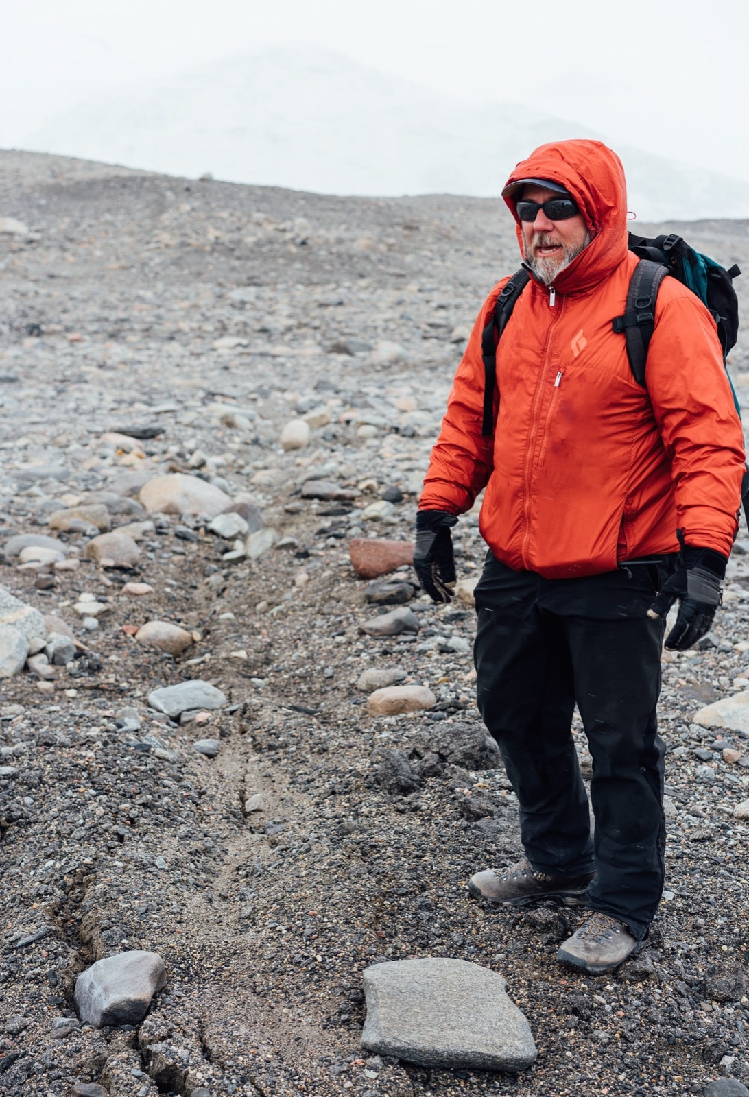 Mike Gooseff's quick pace can be difficult to keep up with as he hikes between field sites. Gooseff is the lead principal investigator for the McMurdo Dry Valleys Long-Term Ecological Research (LTER) Project. Photo by Ariel Zych