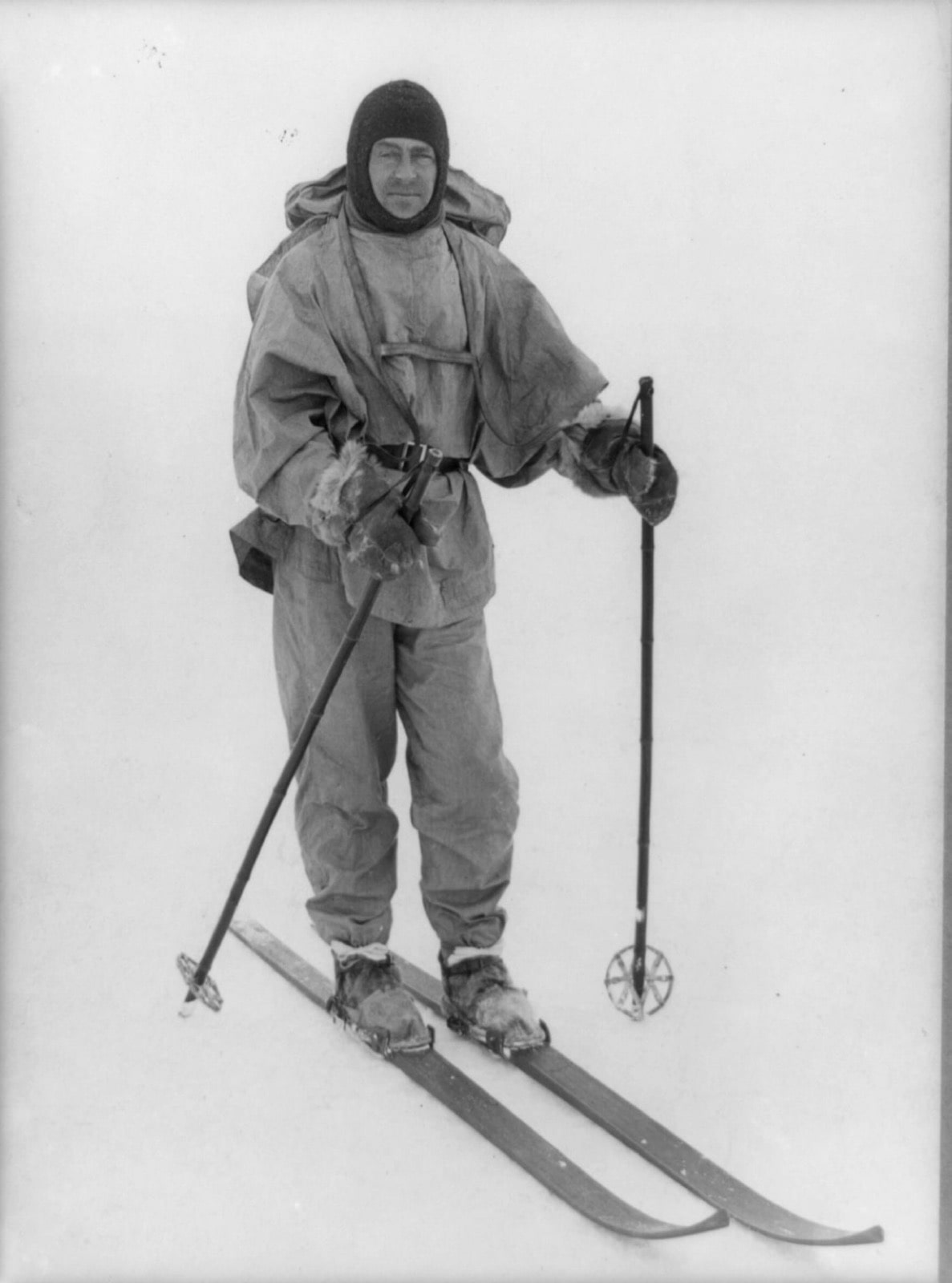 Captain Robert Falcon Scott, on skis in the Antarctic. Leading the 1901 to 1904 Discovery Expedition, Scott and his crew were the first to discover the Dry Valleys. This photo was taken on his final ill-fated attempt to be the first to reach the geographic South Pole during the 1910 British Antarctic Expedition, also known as the  Terra Nova  Expedition. Photo by Herbert G. Ponting, 1913/ Library of Congress