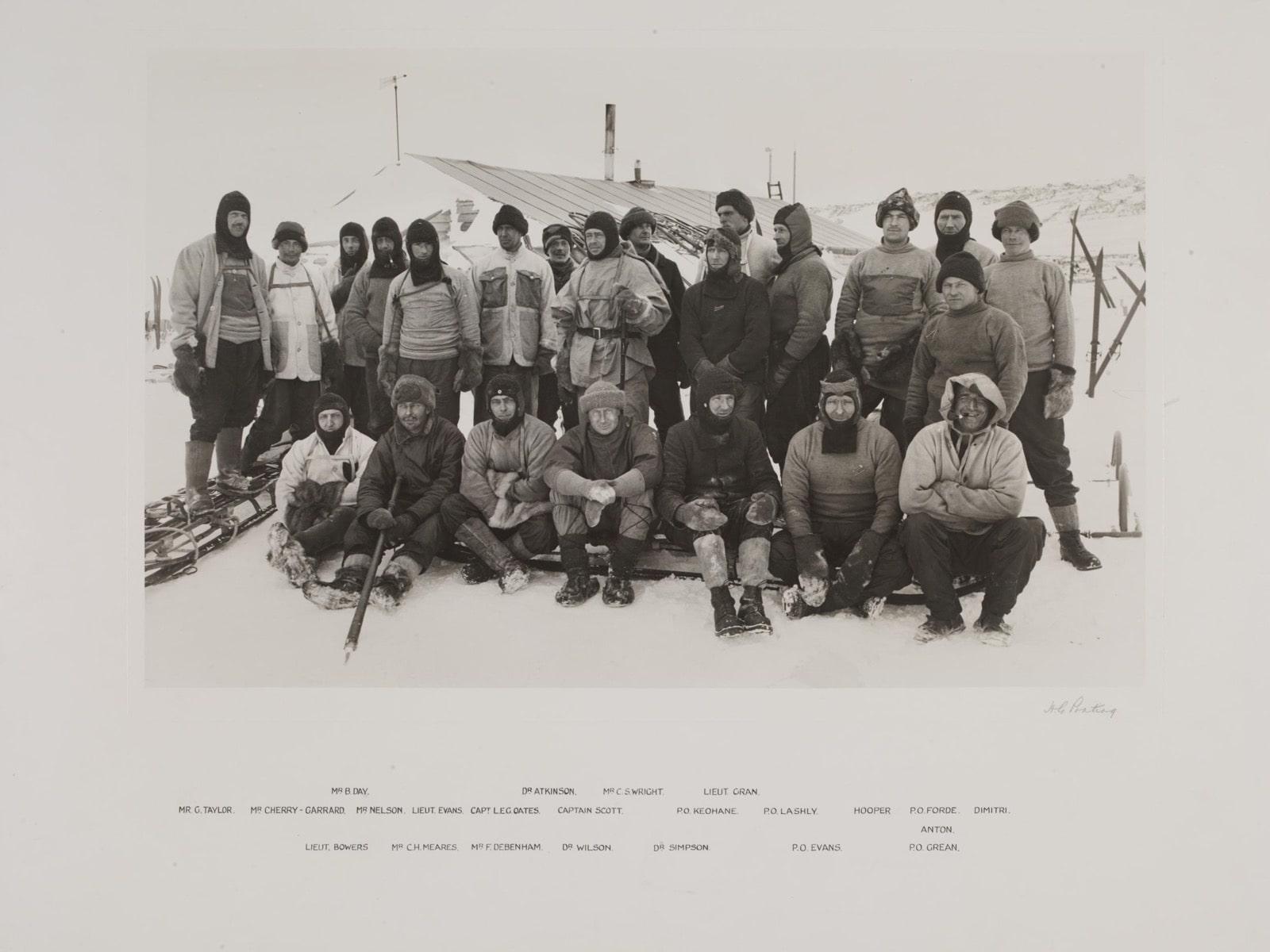 The team of Scott's 1910-1913 British Antarctic Expedition. Photo by Herbert G. Ponting/ © Victoria and Albert Museum, London