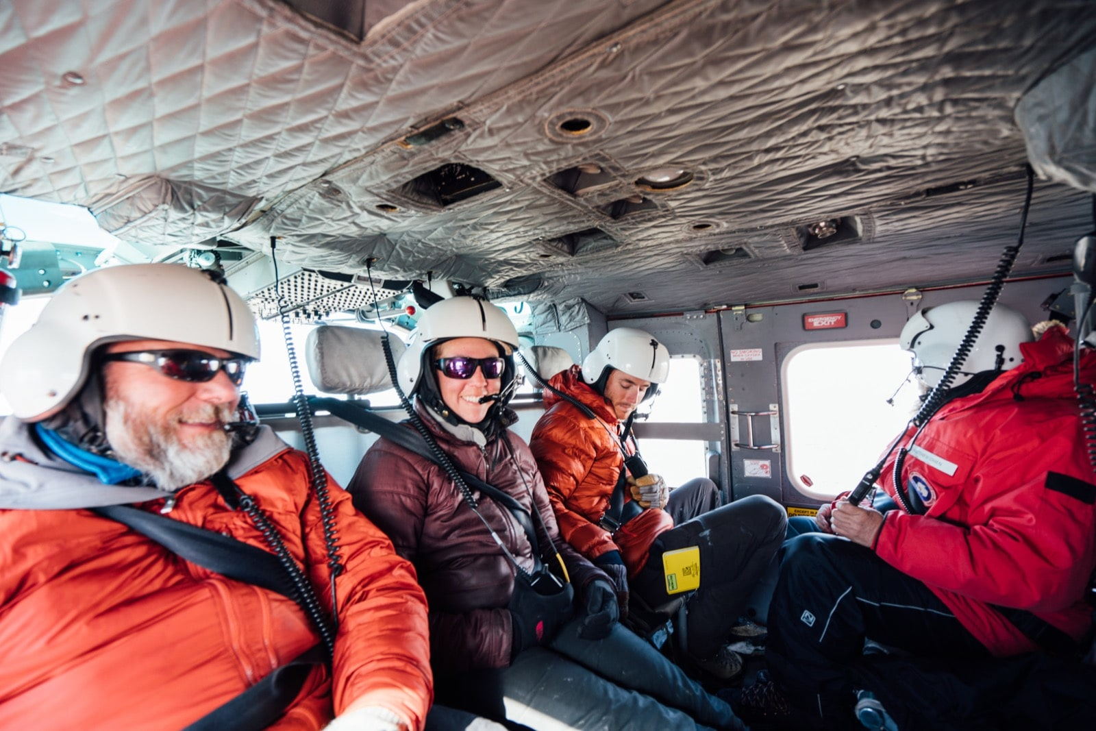 The Stream Team members in helicopter transit to the Onyx River in Wright Valley. Photo by Ariel Zych