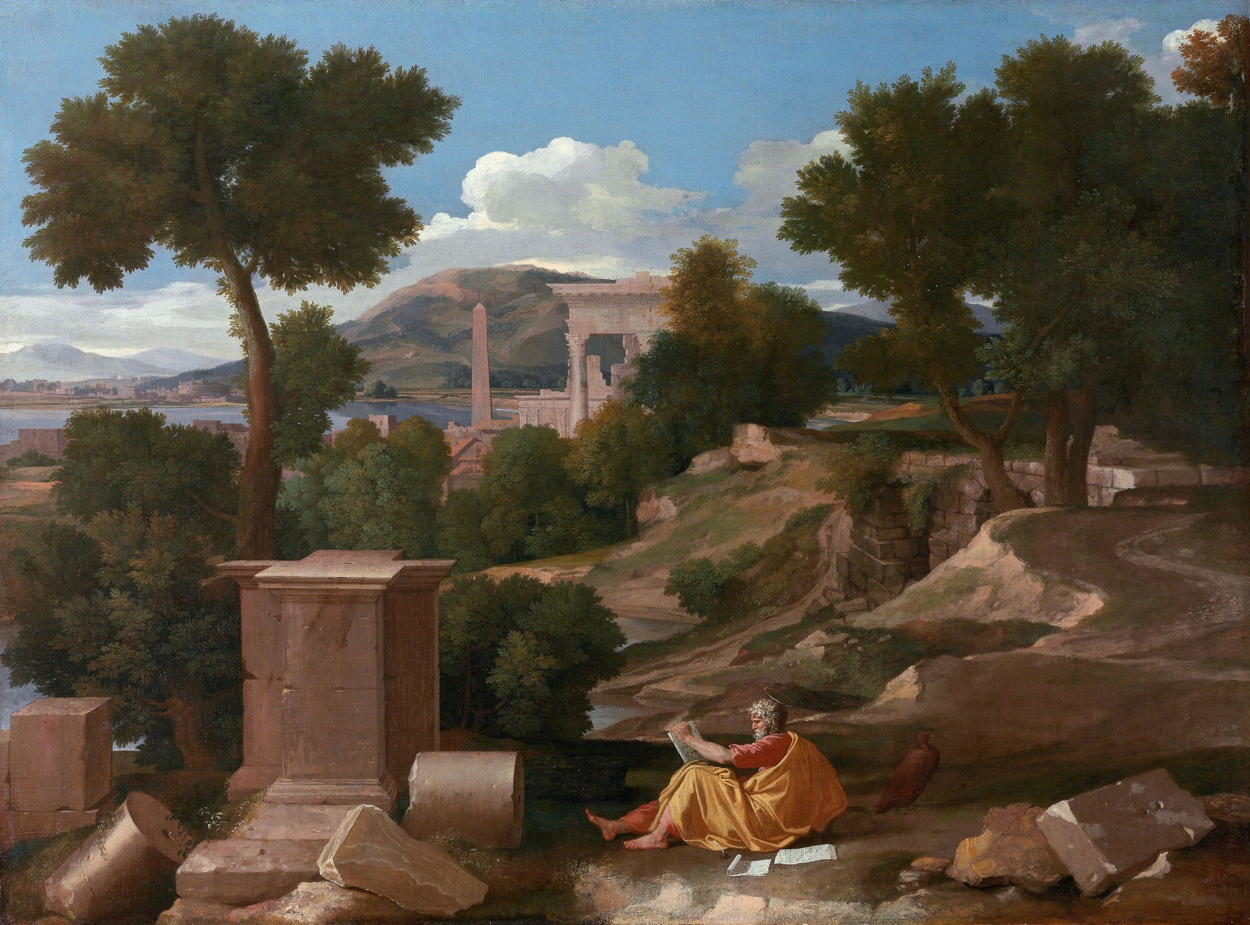 Landscape with Saint John on Patmos (1640)  Nicolas Poussin