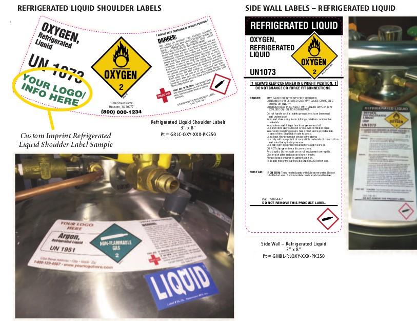 custom imprint liquid shoulder labels and side wall labels