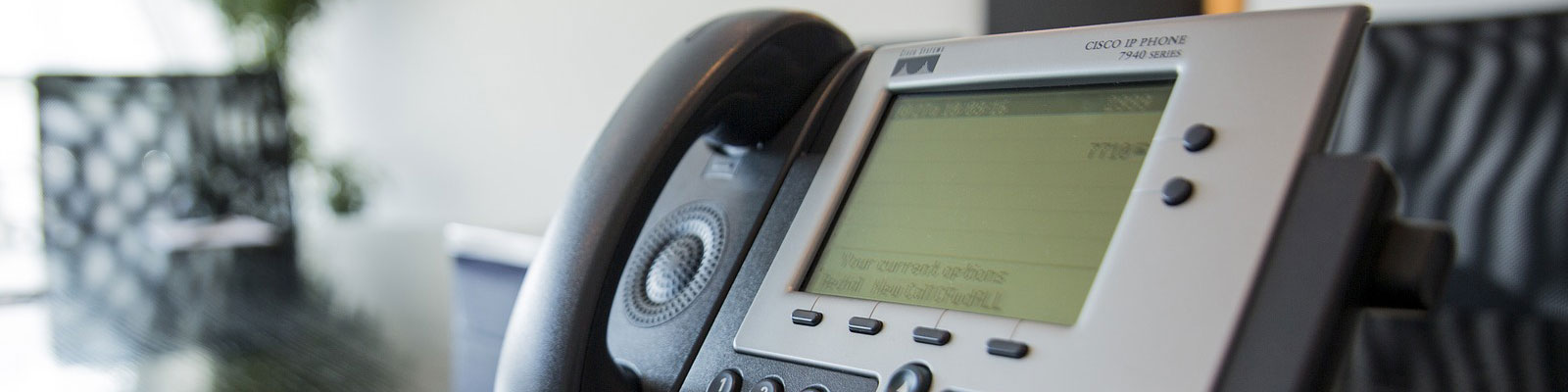 Voice Over Internet Protocol (VoIP) phone system with prompts provided by Woodstock Media Group