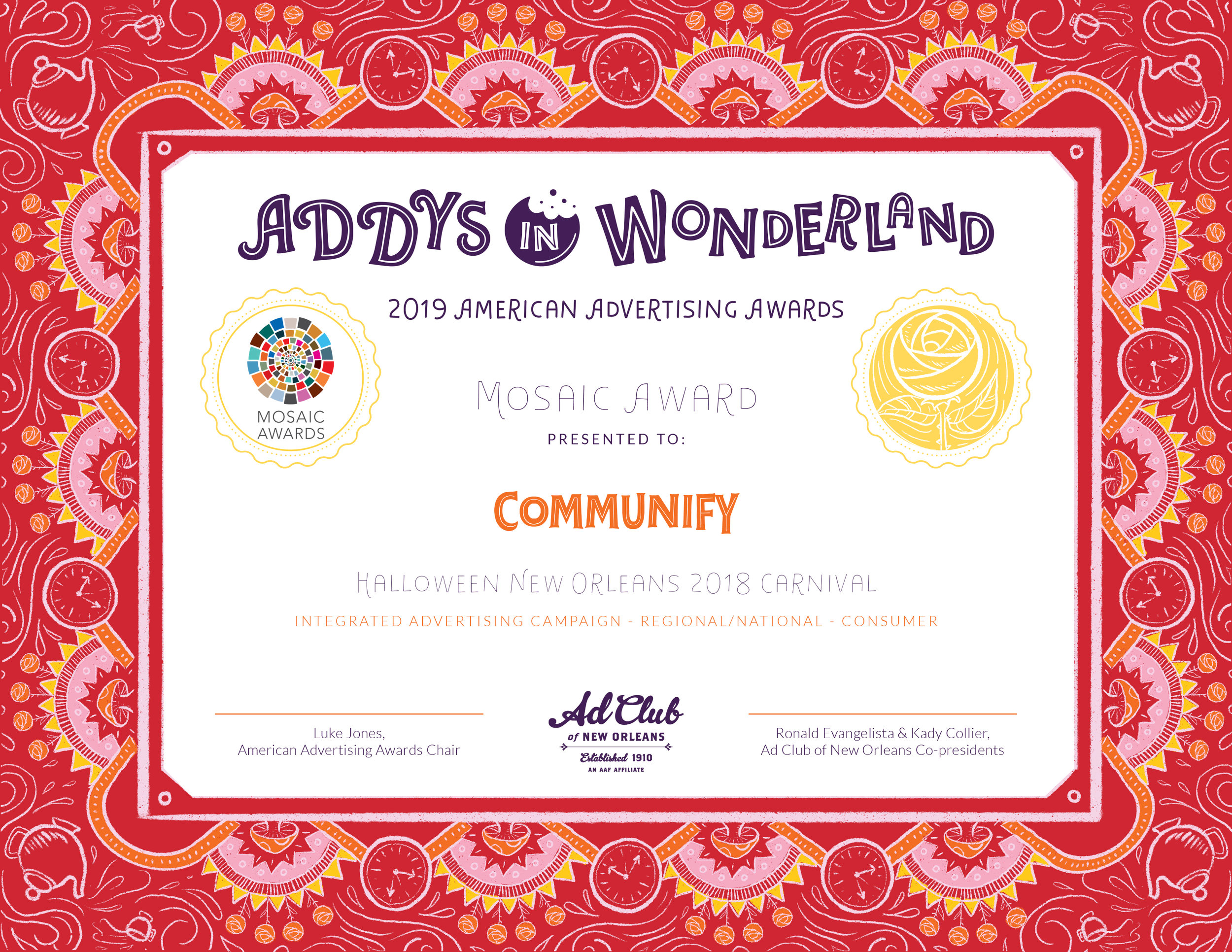 Mosaic Award Certificate