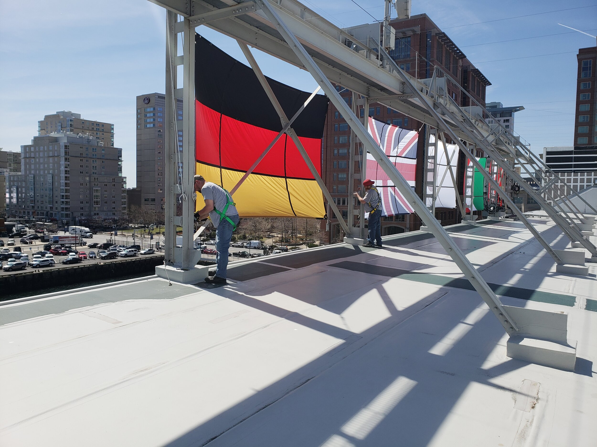 Installation of large scale flags .jpg