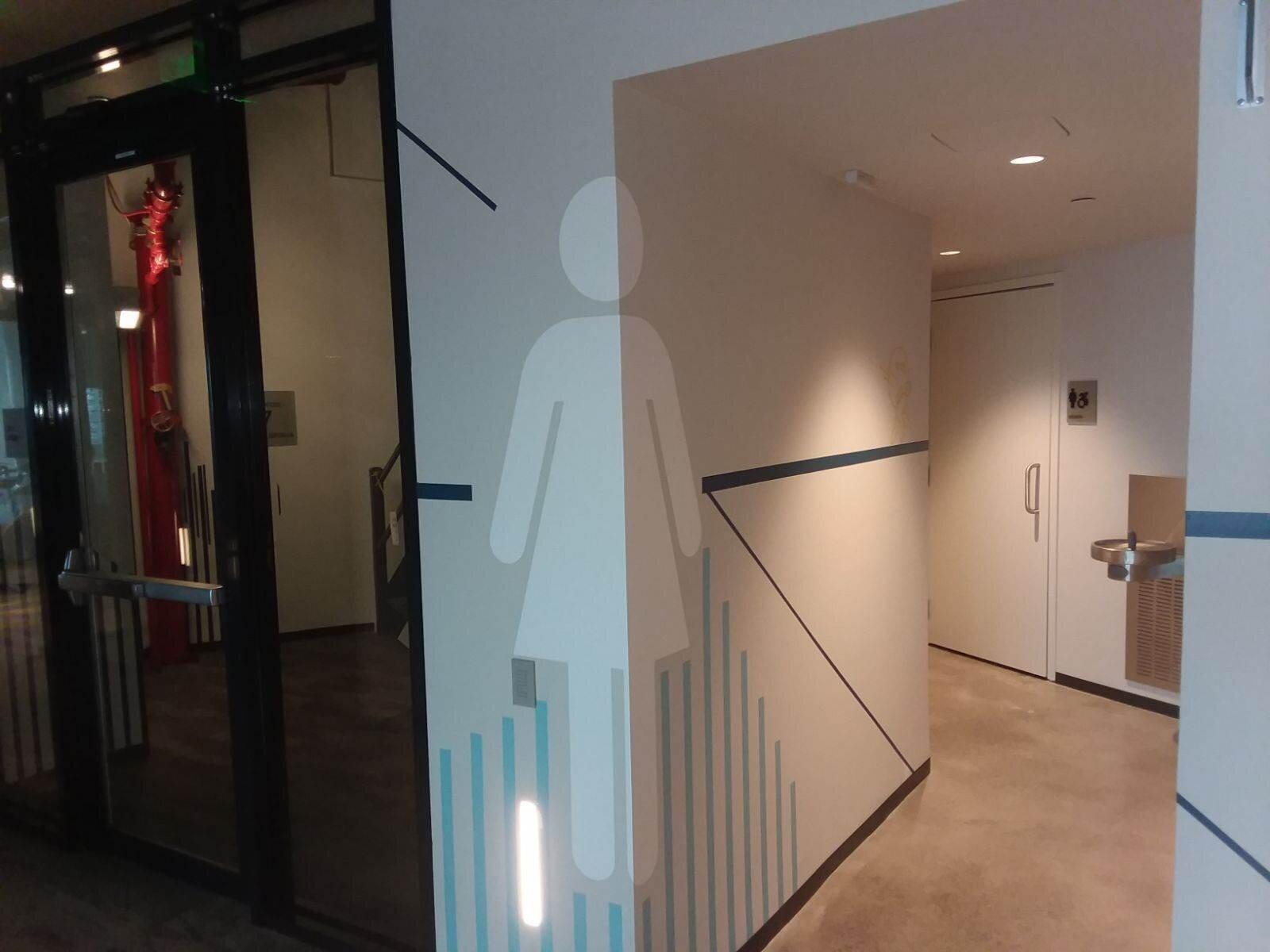 Wall graphics for womens bathroom.JPG