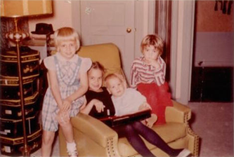 """Lovell"" kids ""Glenna"", ""Mickey"", Eddie & ""Tully"" at home. -"