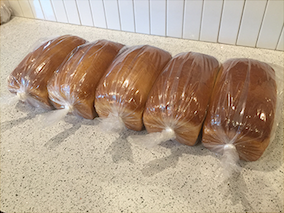 Eddie's bread; all wrapped up and ready to go. -