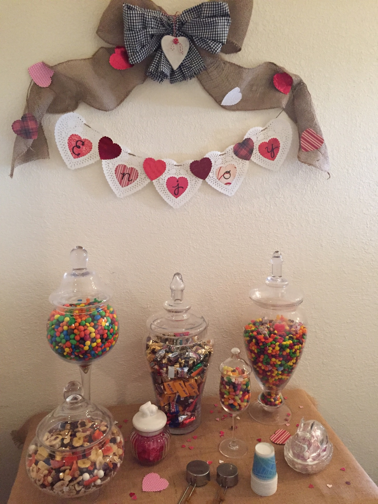 Snack bar decorated for Valentine's Day