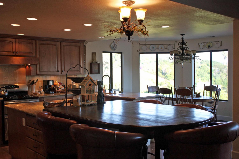 Main kitchen high top seats five