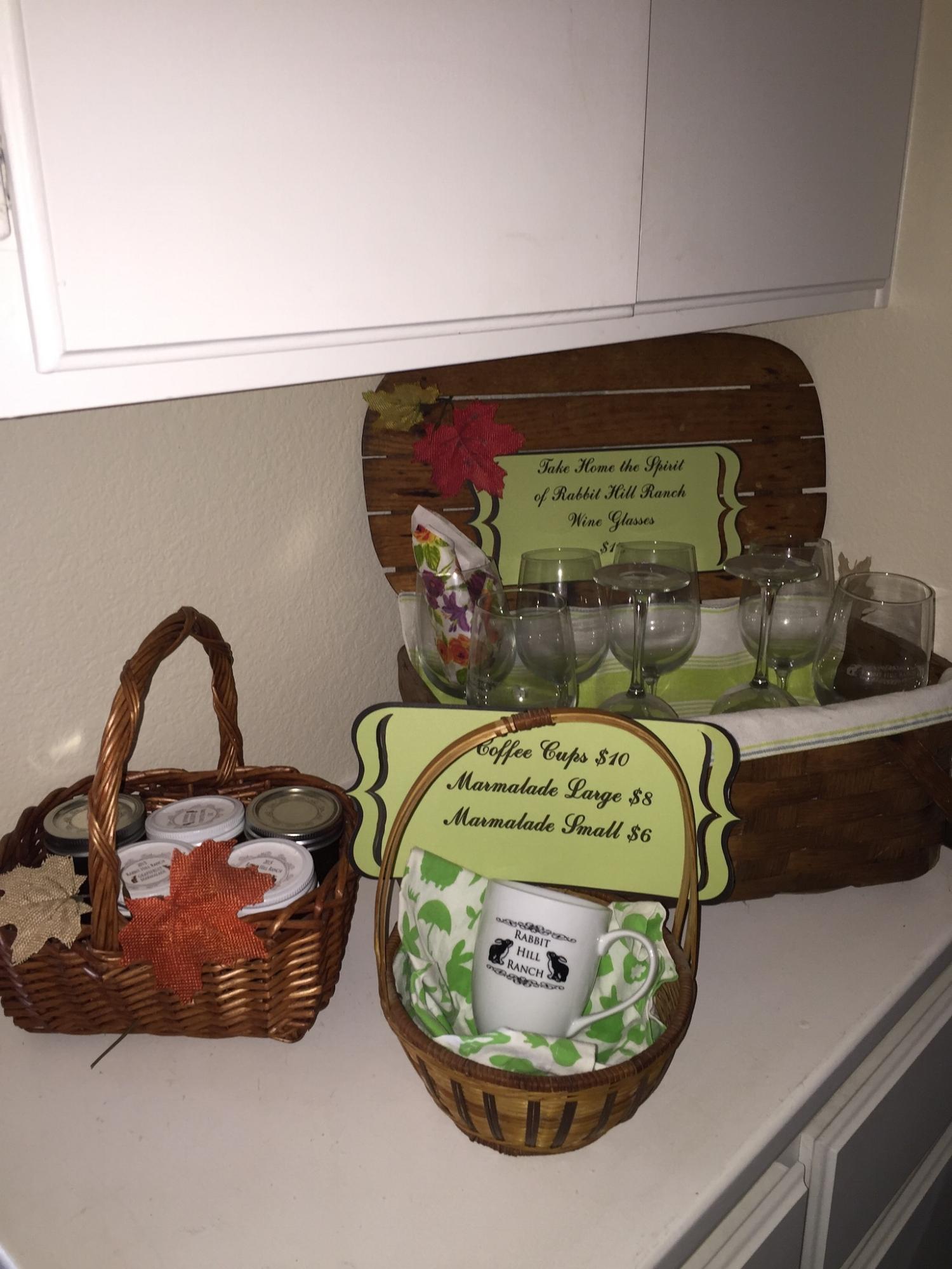 RHR mugs, wine glasses and marmalade