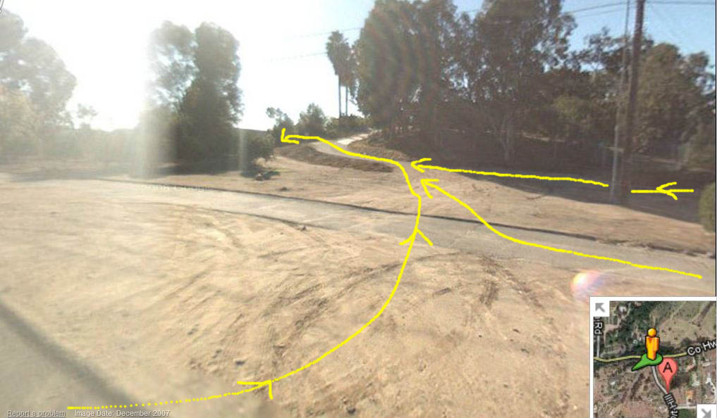 If you take one of the first two turns you will need to cross over the median this is what it looks like.