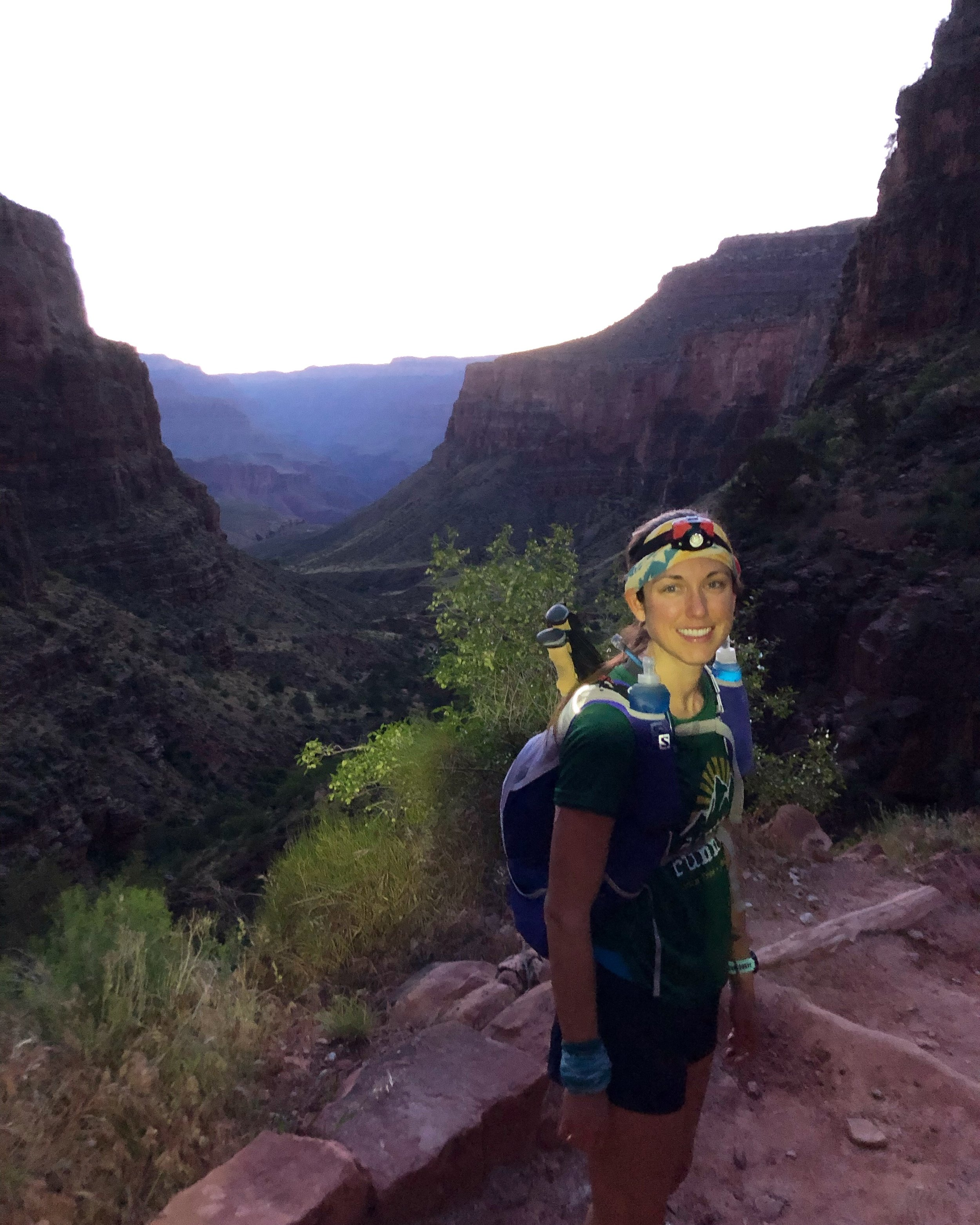 Before the sun rose on Bright Angel Trail as we descend into the canyon.