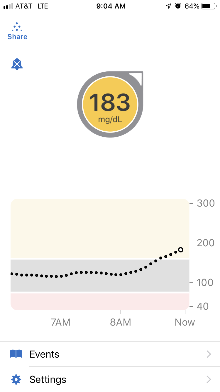 And then my morning BGLs…. not bad until the post-breakfast/morning insulin resistant spike